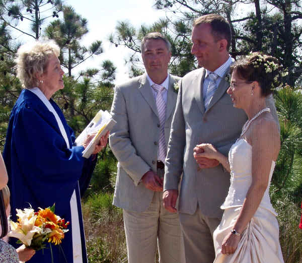 Reverend Beth marries a couple from Europe