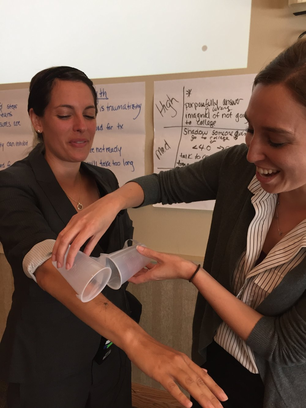 Rinad Beidas, PhD and Emily Becker Haimes, PhD demonstrate how to conduct an exposure with community clinicians in Seattle, Washington (August, 2016)