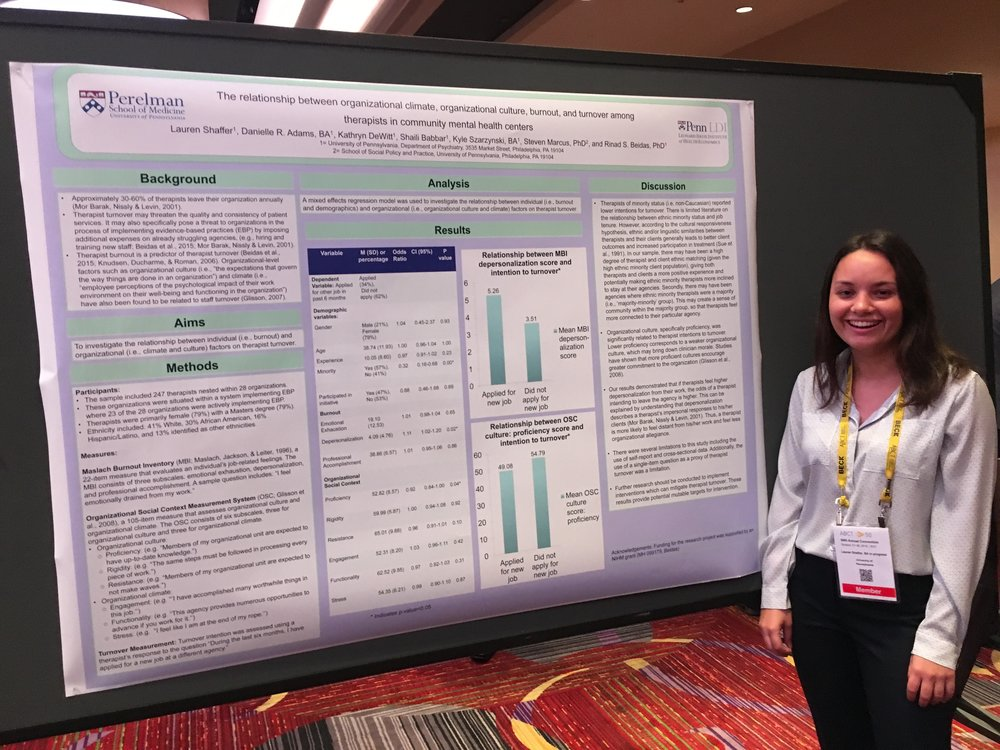 Lauren Shaffer, a research assistant in Dr. Beidas' lab, presenting a poster at ABCT