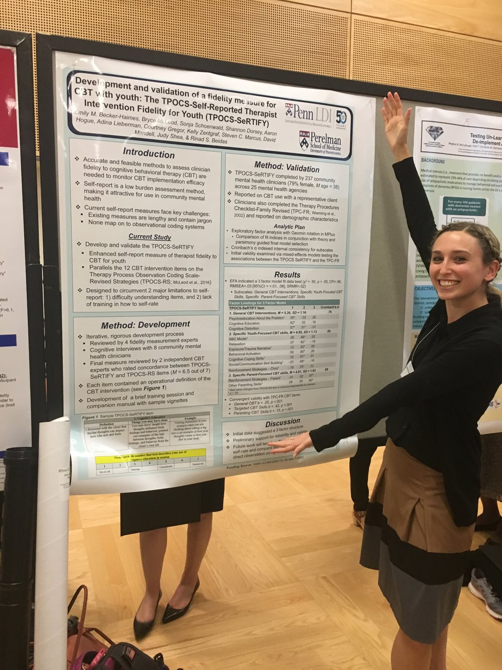 Emily Becker-Haimes presenting her poster on TPOCS-SeRTIFY at the Society for Implementation Research Collaboration (SIRC) Conference in September 2017