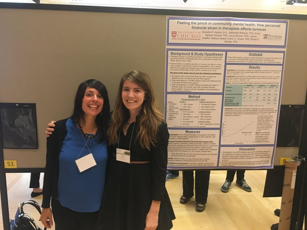 Rinad Beidas and Dani Adams in front of Dani's poster on how perceived financial strain in therapists affects turnover in Philadelphia community mental health at the SIRC Conference in September 2017