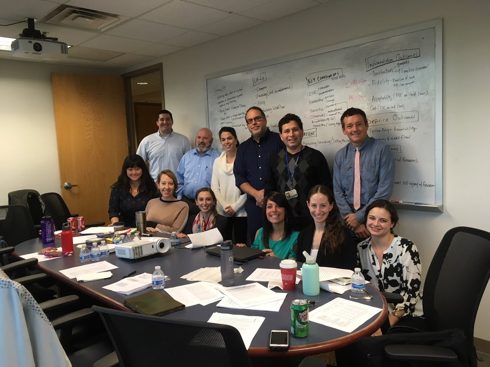 Project ASPIRE Intervention Mapping Half Day Retreat on 11/29/17 in Philadelphia. (Clockwise, from top left): Byron Powell, Gregory Brown, Courtney Gregor, Leo Cabassa, Joel Fein, John Zeber, Courtney Benjamin Wolk, Shari Jager-Hyman, Rinad Beidas, Emily Becker Haimes, Amy Van Pelt, Adina Lieberman.