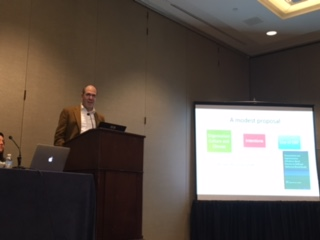 "David Mandell presenting during the panel session ""Towards causal theory in implementation science: The next frontier"" at the 10th Annual Conference on the Science of Dissemination and Implementation in Health in Arlington, VA in December 2017."