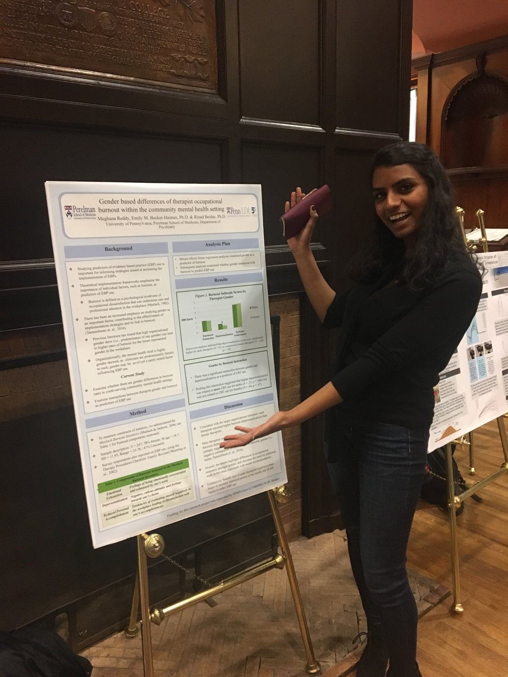 Meghana Reddy (Research Assistant of the Beidas Lab) presenting at the CURF Spring Symposium on gender based differences of therapist occupational burnout within the community mental health setting.