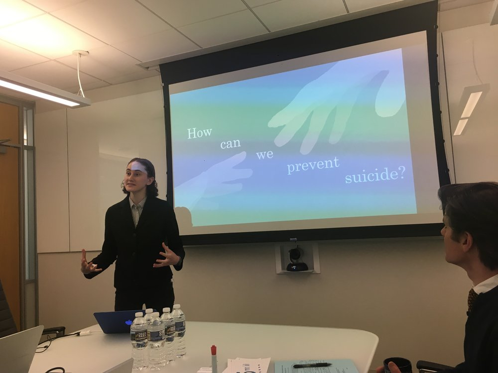 Research Alumna Kathryn DeWitt defending her UScholar honors thesis on EBP training for suicide prevention among clinicians in college counseling center on 04/23/18