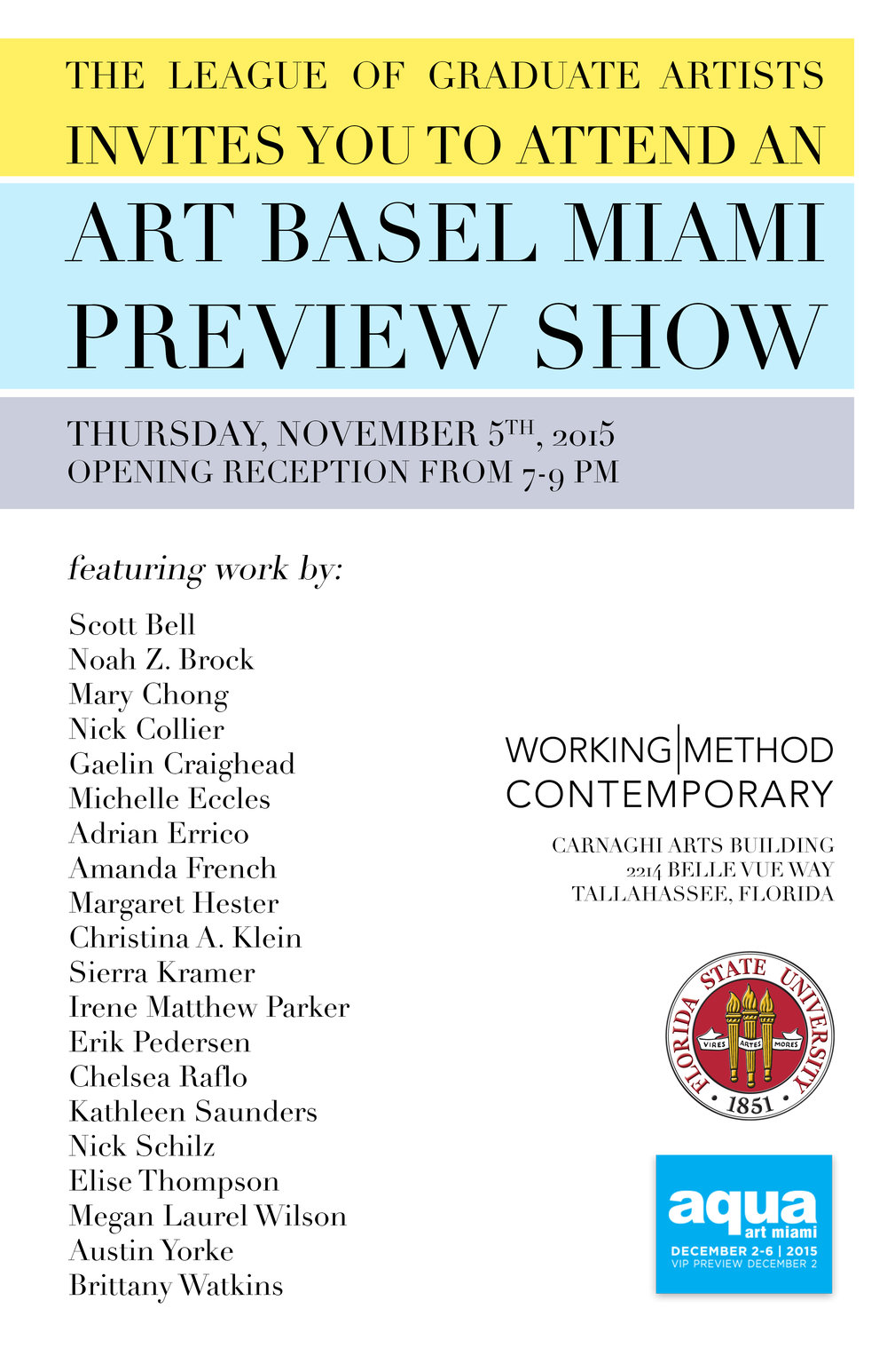 Promotional poster for The League of Graduate Artists' Art Basel Miami Preview Show.