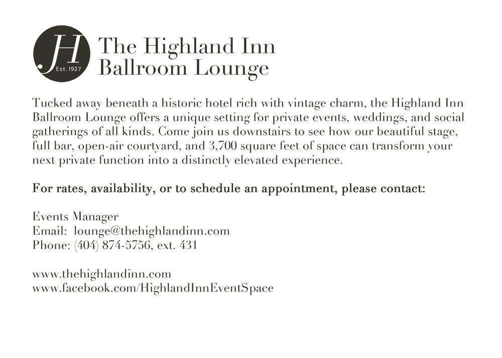 (1/3, back) Postcard designs for a 2013 rebranding campaign for The Highland Inn Ballroom Lounge, Atlanta, GA.