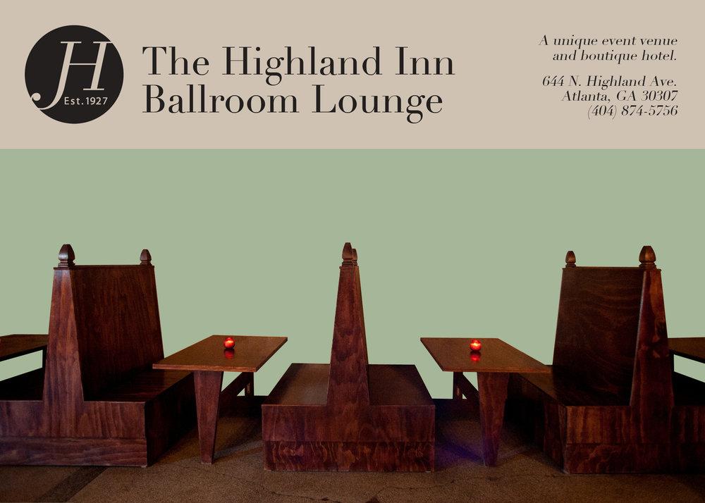 (1/3, front) Postcard designs for a 2013 rebranding campaign for The Highland Inn Ballroom Lounge, Atlanta, GA.