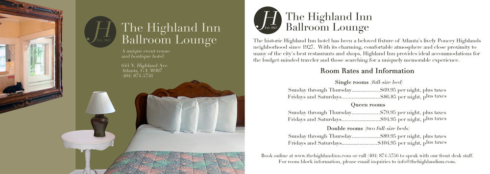 (2/3, front and back) Postcard designs for a 2013 rebranding campaign for The Highland Inn Ballroom Lounge, Atlanta, GA.