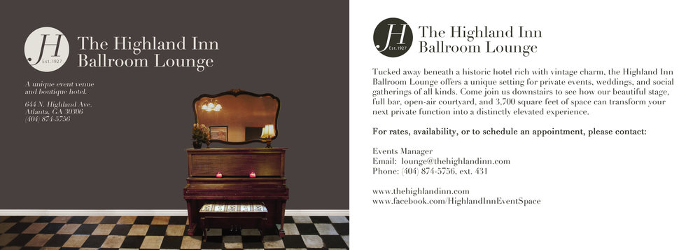 Postcard designs for a 2013 rebrand for The Highland Inn Ballroom Lounge, Atlanta, GA.