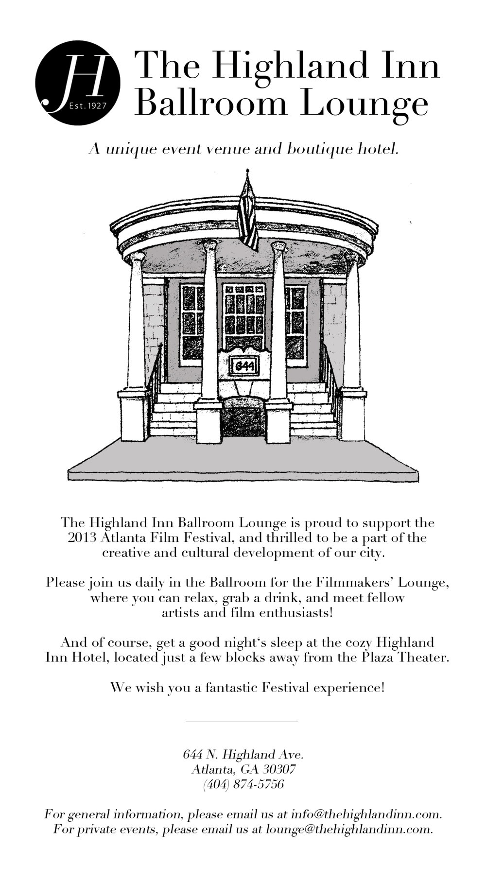 Full-page advertisement for The Highland Inn Ballroom Lounge featured in the Atlanta Film Festival Annual Program, 2013.