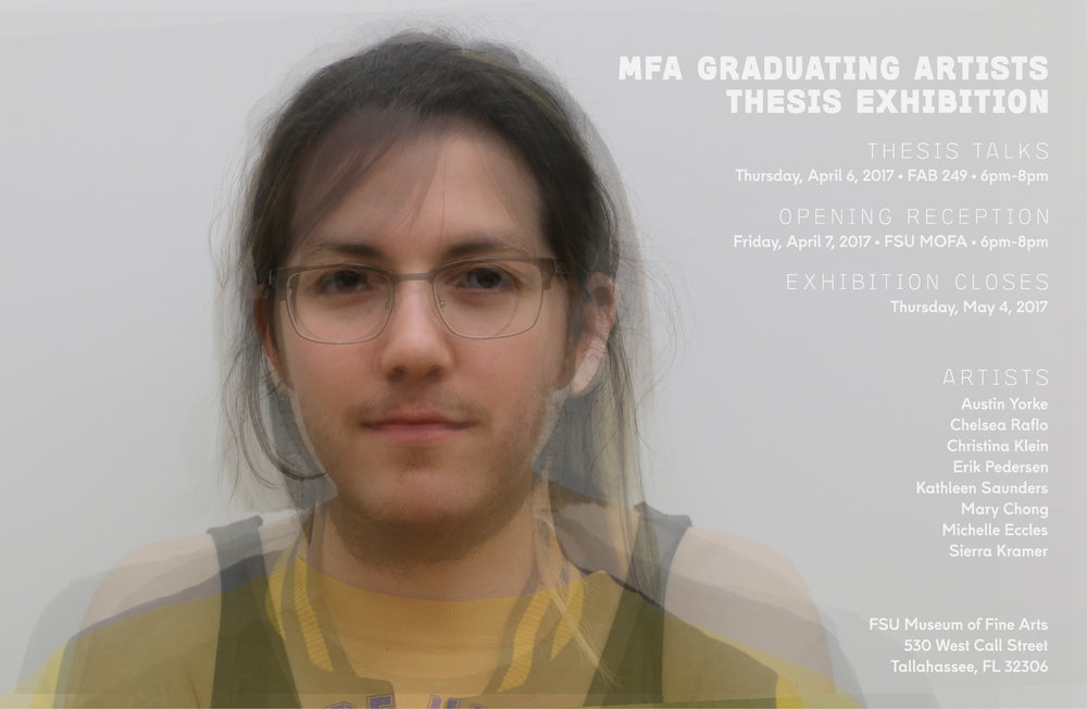 One of eight versions of a poster for the MFA Graduating Artists Thesis Exhibition at the Museum of Fine Arts, Tallahassee. Each version of this composite portrait featured a different blending order in order to create a unique (and frightening) portrait for each of the eight graduating artists.