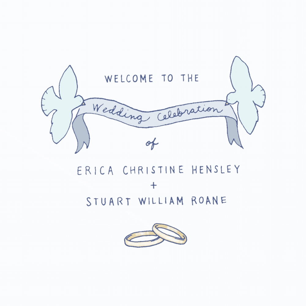 Handcrafted wedding program design.  Cover