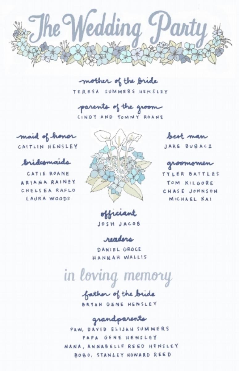 Handcrafted wedding program design.  Page 2