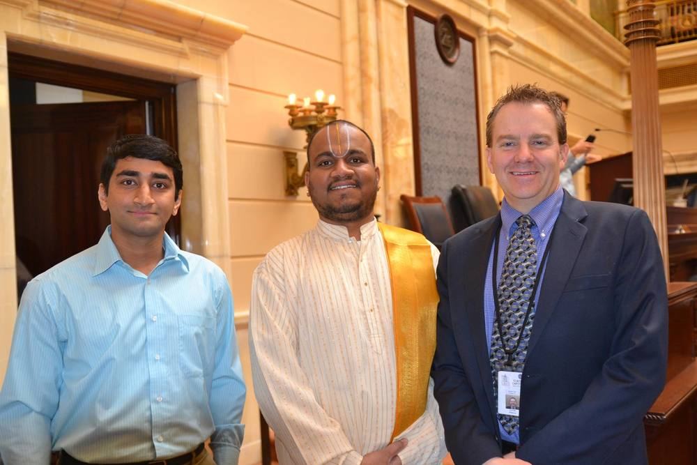 With representatives of the Sri Ganesha Hindu Temple in South Jordan, who came to give the invocation at the Senate.