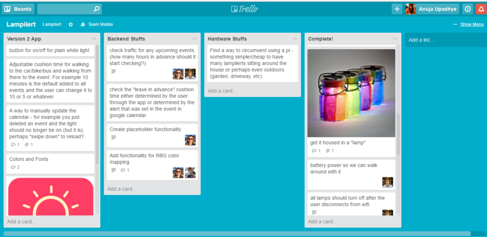 All the ideas, suggestions and task assignments were organized using Trello.