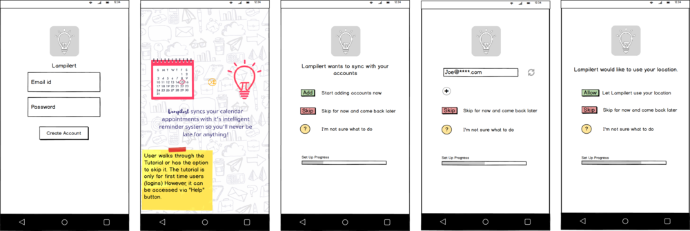 Wireframes for each frame of the app.