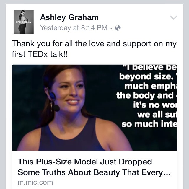 We love @theashleygraham. Keep empowering and inspiring women all over to love your body. #mysize #beauty #tedx #tedxbv15 #changingcurrents