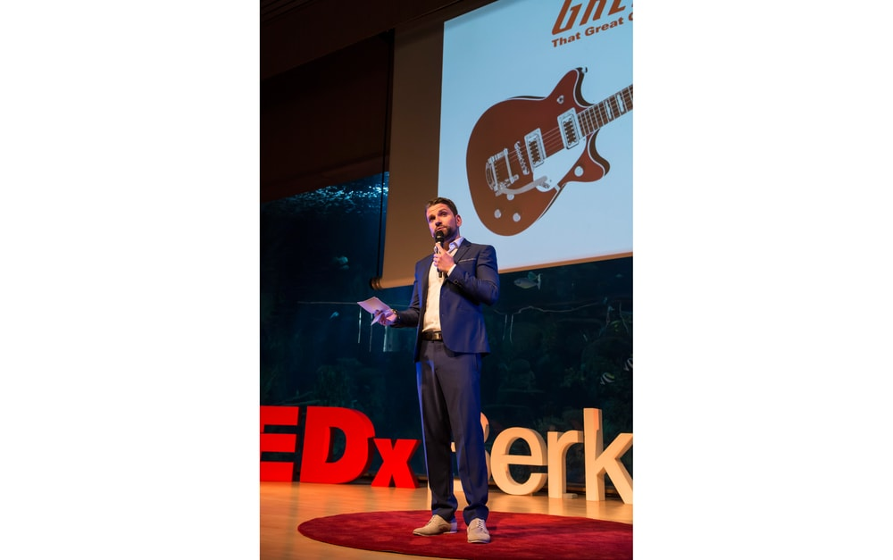 TEDxBerkleeValencia founder Emilien Moyon gives special thanks to partner Gretsch Guitars.