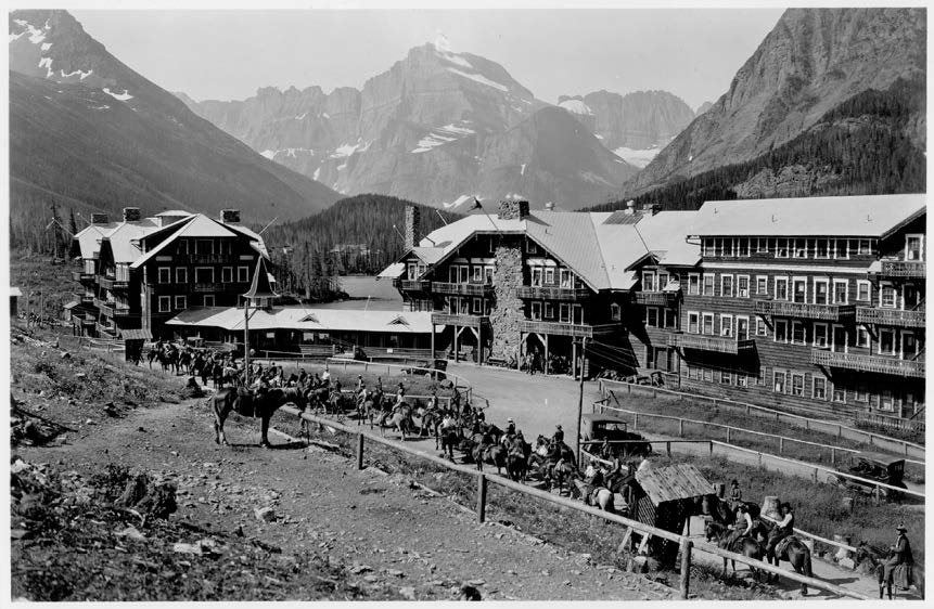 Many Glacier Annex and Lobby - Historical Lobby and South Bridge, as viewed from northeast.