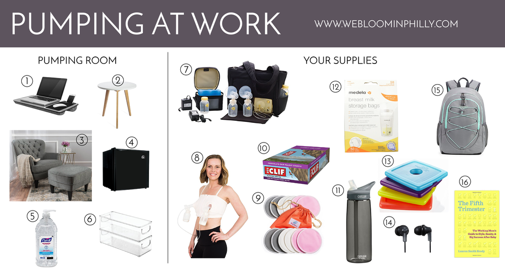 1.  Laptop lap board 2.  End Table 3.  Comfortable Chair 4.  Mini Fridge 5.  Hand Sanitizer 6.  Fridge Organizer 7.  Breast Pump 8.  Hands Free Pumping Bra  9.  Breast Pads  10.  Snacks  11.  Water Bottle with Straw  12.  Breast Milk Storage Bags  13.  Ice Packs  14.  Headphones  15.  Cooler Backpack  16.  The Fifth Trimester
