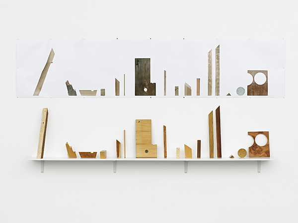 Veneered off-cuts, Sculptural Installation; wood, shelf & photographic print,  2011