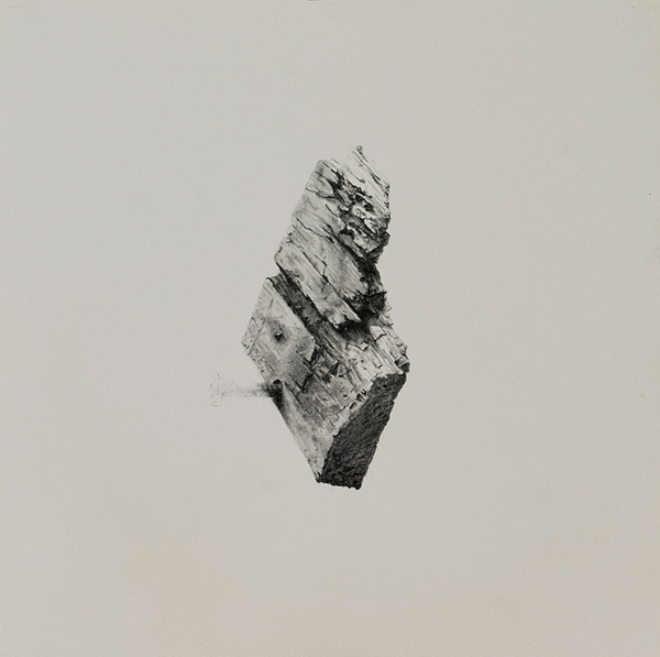 Wood drawings and wedges #1, Pencil on paper, 30 x 30 cm, wood 12 x 3.5 x 2 cm, 2011-12
