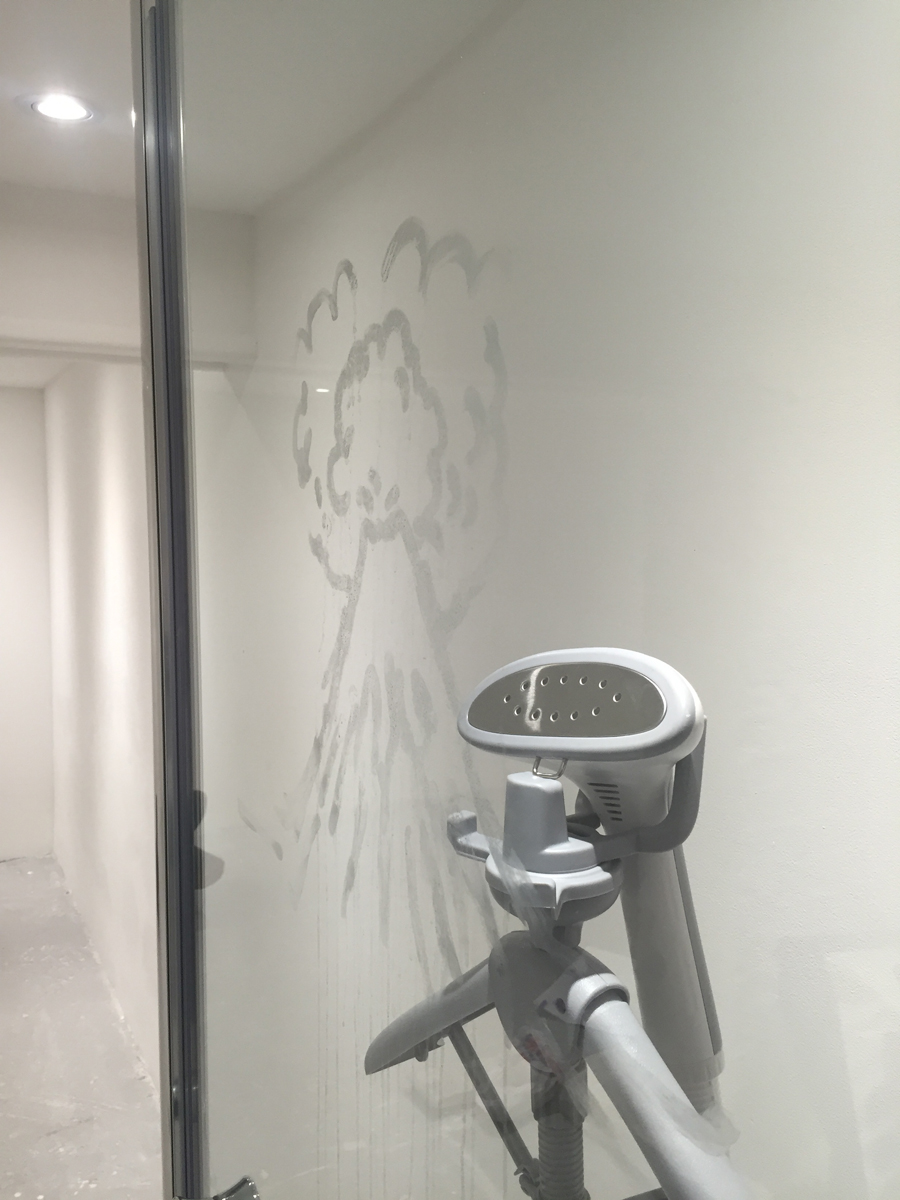 Untitled (detail), Shower door, steamer, volcano drawing in condensation dimensions variable, 2016