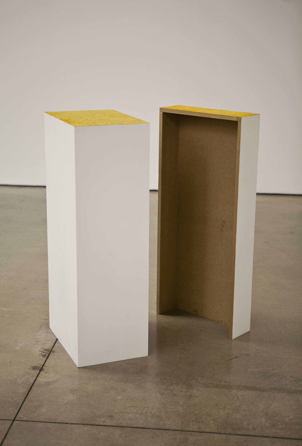 Bee Pollen (2/3 Plinth) Pigment (1/3 Plinth), Mixed media (mdf, bee pollen, pigment) 100 x 45 x 31 cm and 100 x 45 x 14 cm, 2013