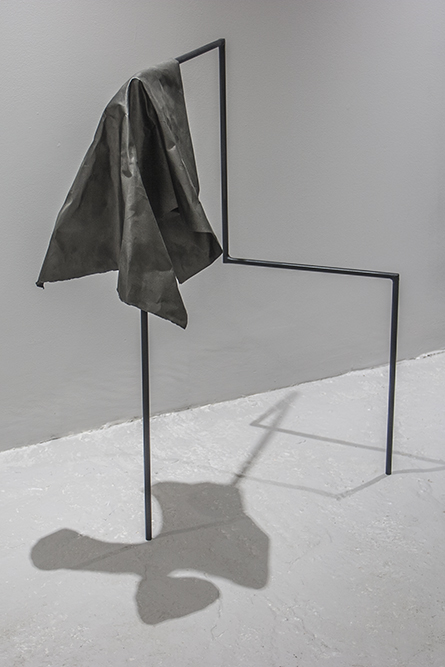Untitled (Chair) Steel, paper, oil paint 60 x 55 x 88 cm, 2016