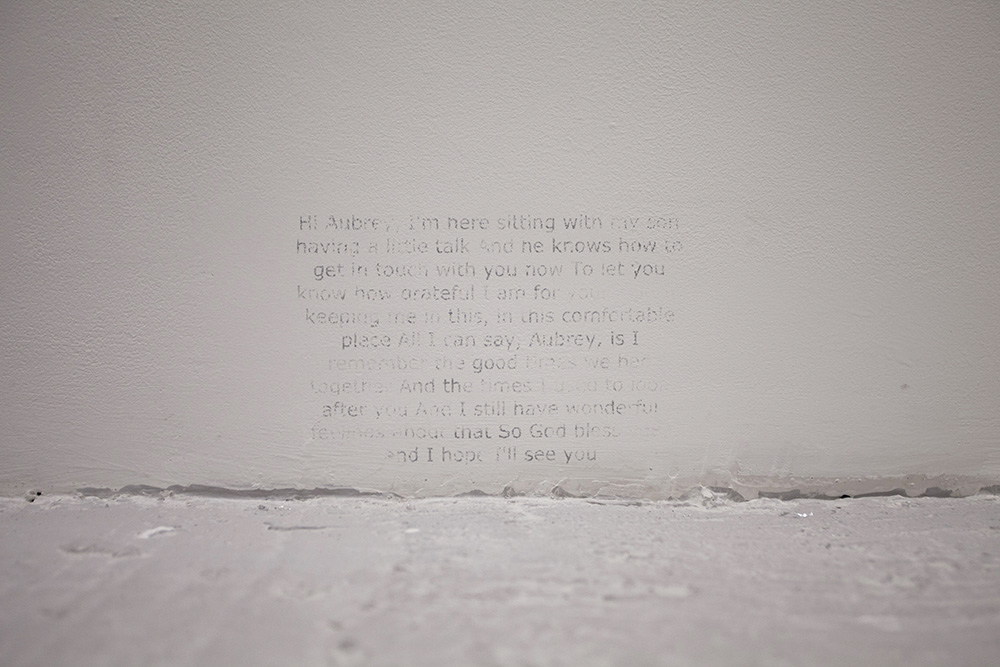 Voicemail messages and samples collated from crowd sourced lyrics Acetone transfer on wall  Dimensions variable, 2016