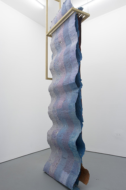 Castor, London (two waves two flats) Handmade paper, pigment, oak, PVA 367 x 90 x 35cm, 2017