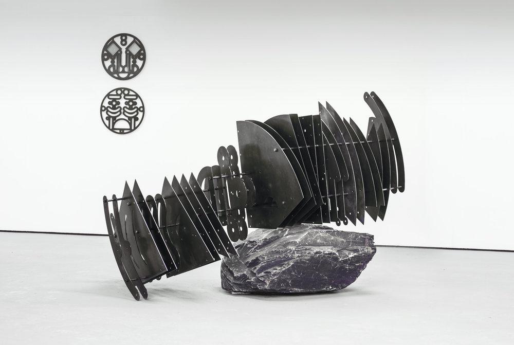 By Chain by Furlong, Laser Cut Steel, Threaded rod, Bolts, Slate Boulder 164 x 245 x 130 cm, 2016