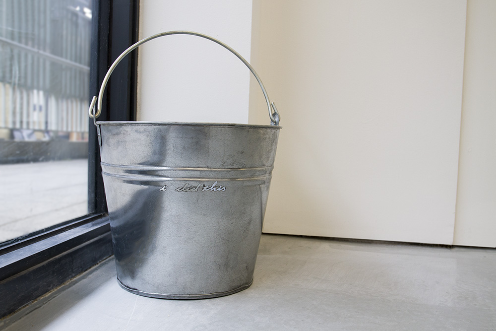 i did this - buckets Laser-cut galvanised steel bucket 29 x 31 x 31 cm, 2016