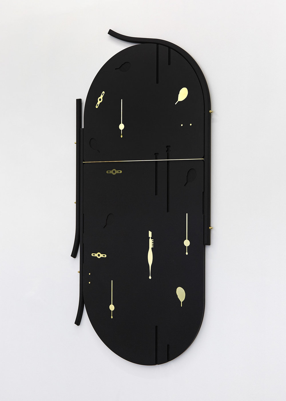 Onglette Valchromat & brass 150 x 76 x 2 cm, 2018