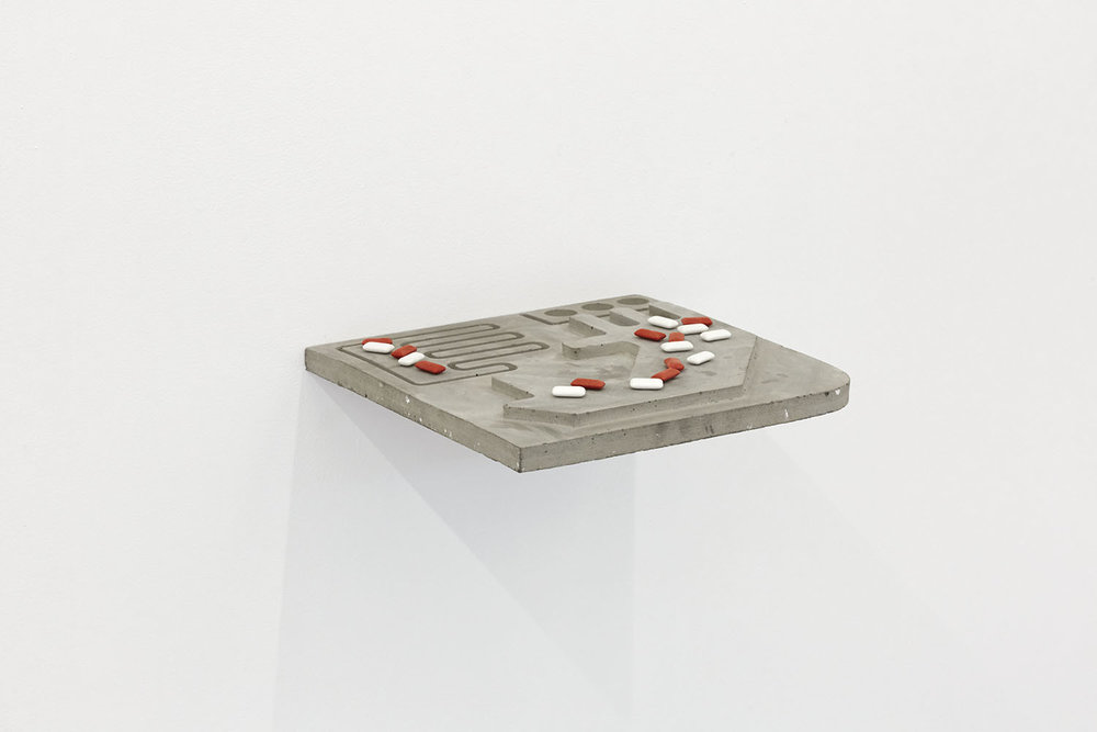 Rubble Bubble (shelf) Concrete, steel, chewing gum 30 x 30 x 2cm, 2018