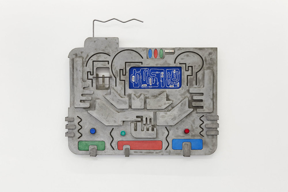 Technological Reliquary II (3-Kolor) Jesmonite, free-hand embroidery, steel, push button 68 x 76 x 4.5cm, 2018