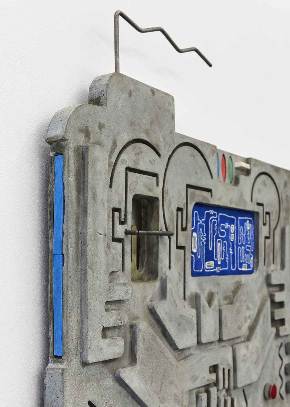 Technological Reliquary II (3-Kolor) - detail Jesmonite, free-hand embroidery, steel, push button 68 x 76 x 4.5cm, 2018