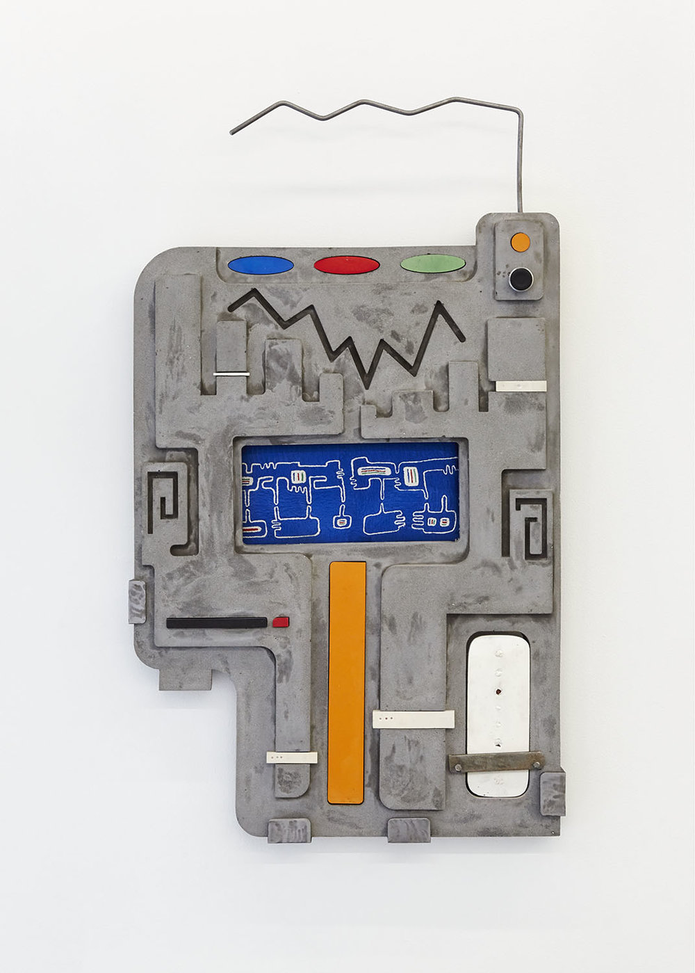 Technological Reliquary I (Current) Jesmonite, free-hand embroidery, steel, push button 87 x 50 x 4.5cm, 2018