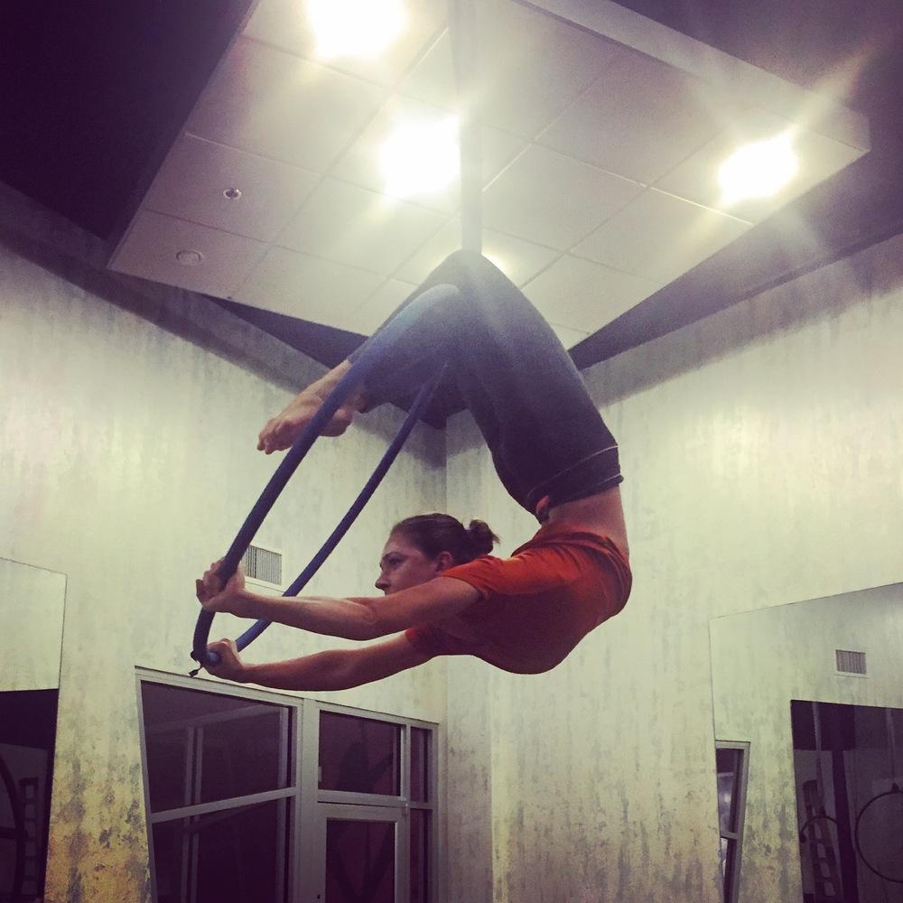 Practicing bridges on the Lyra at Vixen Fitness Studio in Orlando, FL. 29 December 2015.