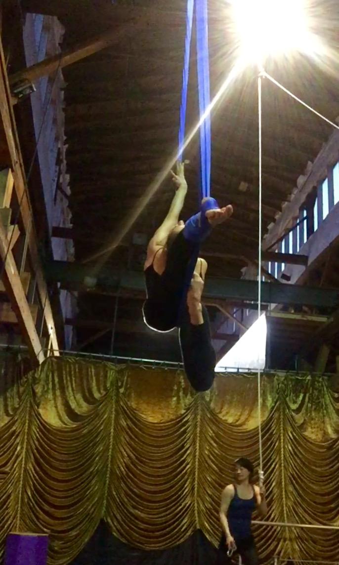 31 May 2016. Seattle, WA. Aerial hammock.