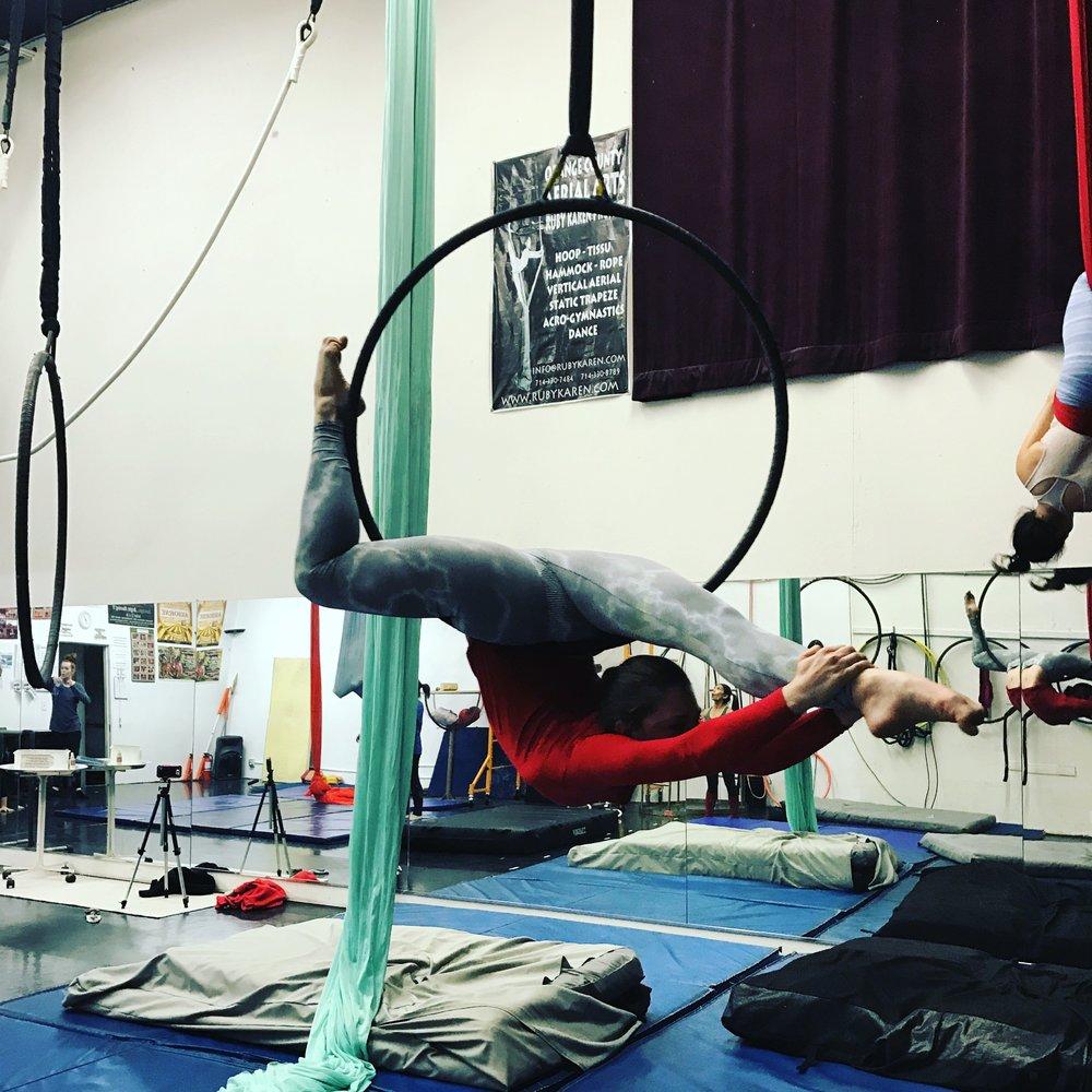 1 March 2017. Orange County, CA. Aerial Hoop. Ruby Karen Project.