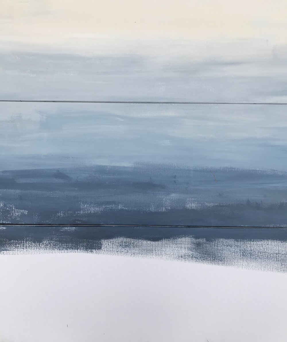 In progress: You can see here the diffference between a white canvas (bottom, unpainted) versus an eggshell white for the ombrè layering. In my opinion, eggshell has a more natural look to it.
