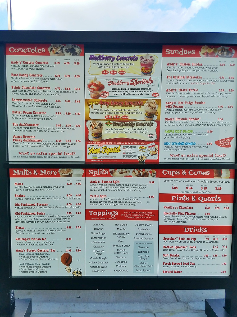 Andy's Frozen Custard Menu