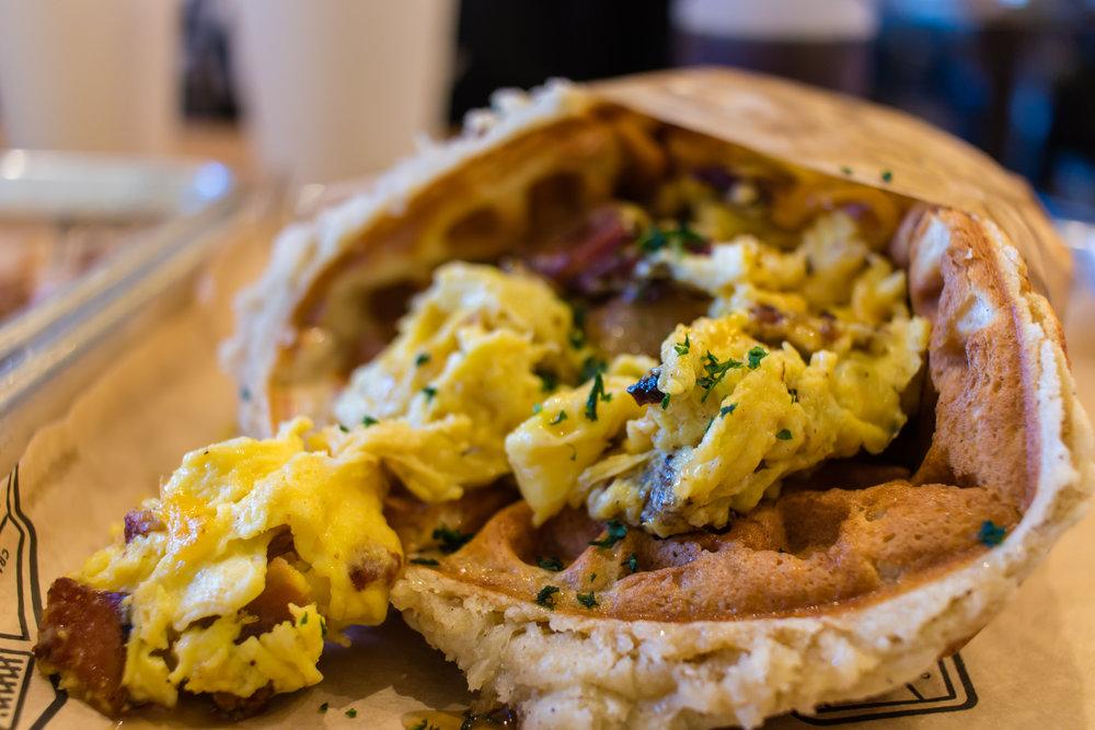Bacon, Egg, & Cheddar Waffle