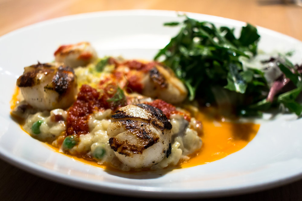 Grilled Sea Scallops & Carbonara Risotto