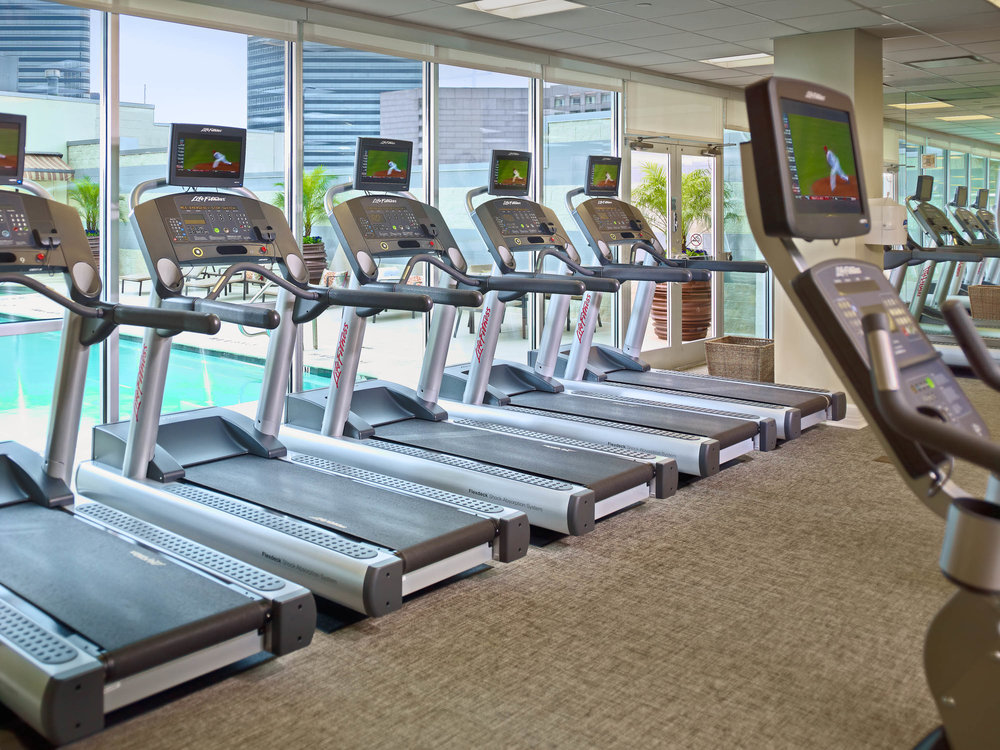 Fitness Center overlooking pool. (photo courtesy of Royal Sonesta Galleria Houston)