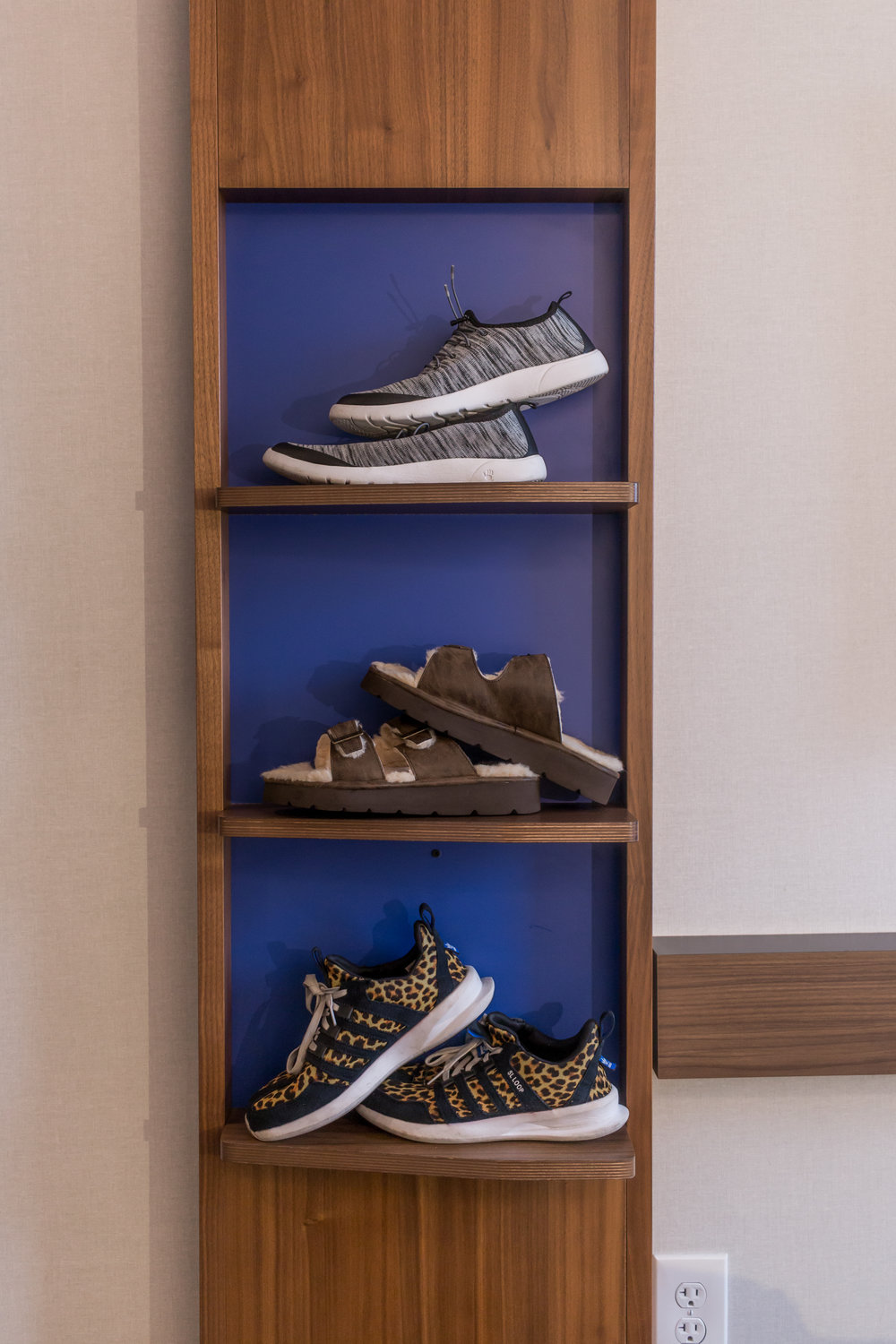 Just one of many shelving areas inside the room