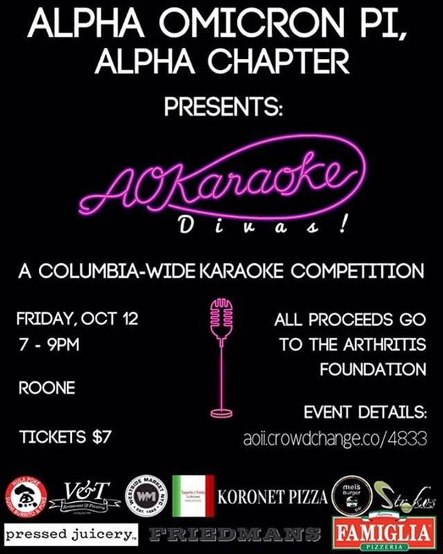 Come see campus groups sing some of the greatest diva hits in a karaoke competition for $100 gift cards to Mel's and 1020. Link to donate: aoii.crowdchange.co/4833  AOKaraoke is directly following the Panhellenic meet and greet on October 12th!