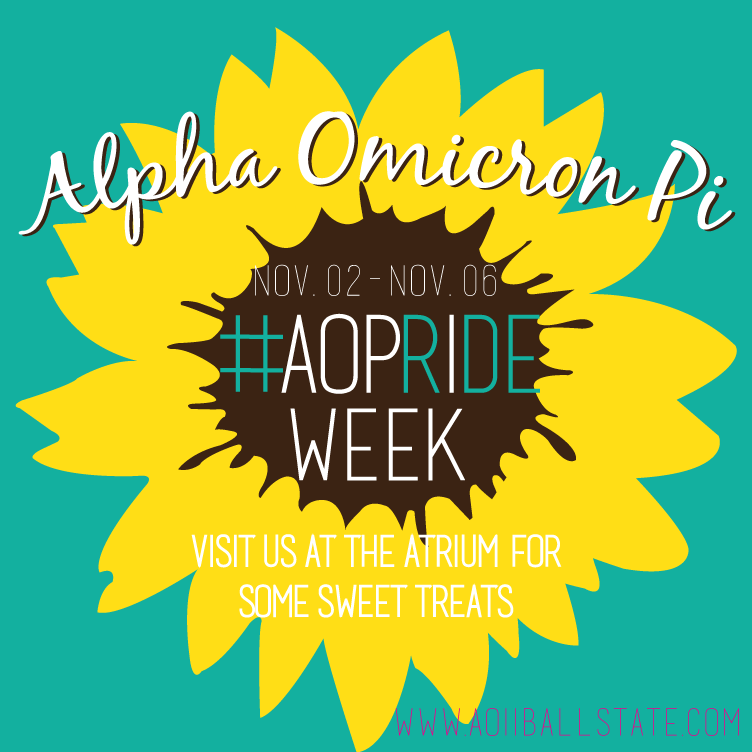 Once a year, Ball State University's Alpha Omicron Pi (AOII) Sorority would celebrate their chapter by promoting it on campus. As a communications committee member, I was able to develop this image to act as both Instagram and Facebook posts, but also to act as a profile picture.
